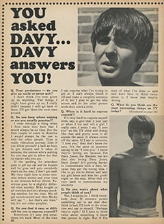<cite>Monkee Spectacular</cite> (August 1968), You Asked Davy… Davy Answers You, Page 20
