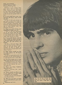 <cite>Monkee Spectacular</cite> (August 1968), You Asked Davy… Davy Answers You, Page 58
