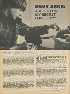 "<cite>16</cite> (September 1968), Davy Asks: ""Are You on My Secret Love List?"", Page 62"