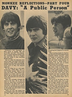 "<cite>Flip</cite> (September 1968), Monkee Reflections—Davy: ""A Public Person"", Page 26"