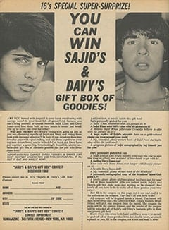 <cite>16</cite> (December 1968), You Can Win Sajid&rsquo;s &amp; Davy&rsquo;s Gift Box of Goodies, Page 60
