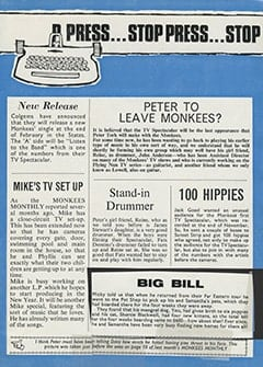 <cite>Monkees Monthly</cite> (January 1969), Stop Press, Page 19