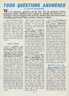 <cite>Monkees Monthly</cite> (January 1969), Your Questions Answered, Page 22