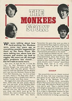 <cite>Monkees Monthly</cite> (April 1969), The Monkees Story, Page 11
