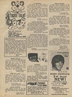 <cite>Tiger Beat</cite> (January 1970), Tiger Talk, Page 06