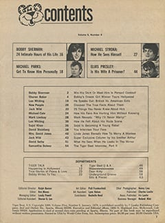<cite>Tiger Beat</cite> (January 1970) table of contents