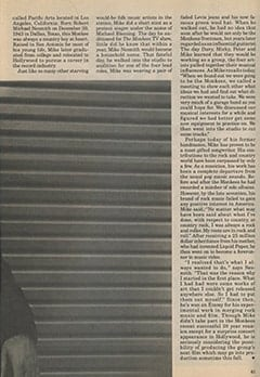 <cite>Monkee Spectacular Reprint</cite> (1987), Mike Nesmith Remembers The Monkees, Page 61