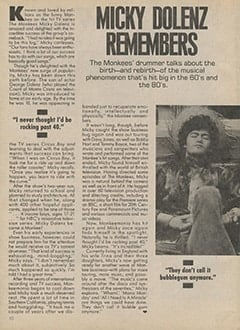 <cite>Tiger Beat Super Special</cite> (1987), Micky Dolenz Remembers, Page 10