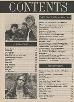 <cite>Tiger Beat</cite> (April 1987) table of contents
