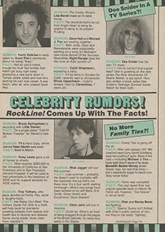 <cite>RockLine!</cite> (August 1987), Celebrity Rumors, Page 69
