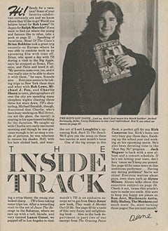<cite>Tiger Beat</cite> (August 1987), Inside Track, Page 05