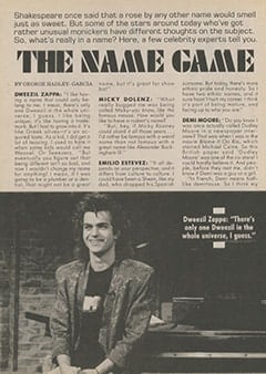 <cite>Tiger Beat</cite> (September 1987), The Name Game, Page 12