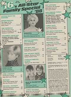 <cite>16's All-Star Family Special</cite> (January 1988) table of contents