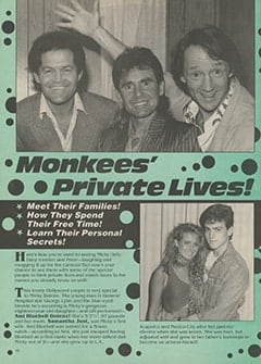 <cite>16's All-Star Family Special</cite> (Winter 1987–1988), Monkees' Private Lives, Page 10