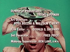 Director of Photography … Irving Lippman / Art Directors … Ross Bellah & Malcolm C. Bert / Film Editor … Gerald S. Shepard / Set Decorator … Fred Price / Make-up Supervision … Ben Lane, S.M.A.