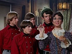 Peter Tork, Davy Jones, Micky Dolenz, Mike Nesmith, Madame Roselle (Lea Marmer)