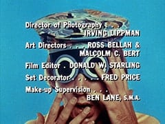 Director of Photography … Irving Lippman / Art Directors … Ross Bellah & Malcolm C. Bert / Film Editor … Donald W. Starling / Set Decorator … Fred Price / Make-up Supervision … Ben Lane, S.M.A.