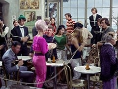 David Price, Mike Nesmith, David Pearl, Vincent Van Waitress (?), Brunette Extra, Peter Tork, Micky Dolenz, John London, 1444 Old Woman (Georgia Schmidt)