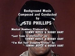 "Background Music Composed and Conducted by Stu Phillips / Musical Numbers Produced by Tommy Boyce & Bobby Hart / ""Last Train to Clarksville"" by Tommy Boyce & Bobby Hart / ""I'm Not Your Stepping Stones"" by Tommy Boyce & Bobby Hart"