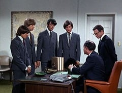 Davy Jones, Peter Tork, Mike Nesmith, Micky Dolenz, The Chief (Booth Colman), Honeywell (Don Penny)