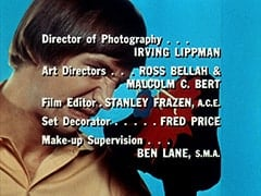 Director of Photography … Irving Lippman / Art Directors … Ross Bellah & Malcolm C. Bert / Film Editor … Stanley Frazen, A.C.E. / Set Decorator … Fred Price / Make-up Supervision … Ben Lane, S.M.A.