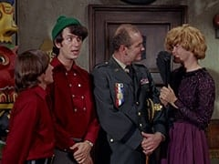 Davy Jones, Mike Nesmith, General Harley Vandenberg (Arch Johnson), Mrs. Arcadian (Micky Dolenz)
