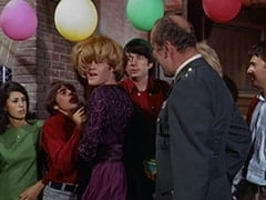 Davy Jones, Mrs. Arcadian (Micky Dolenz), Mike Nesmith, General Harley Vandenberg (Arch Johnson)