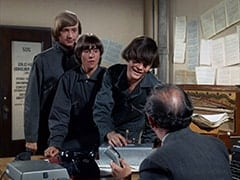 Peter Tork, Davy Jones, Micky Dolenz, Bernie Class (Phil Leeds)