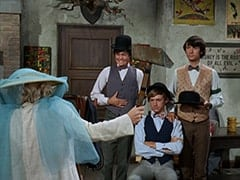 Fern Badderly (Kelly Jean Peters), Micky Dolenz, Peter Tork, Mike Nesmith