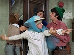 Peter Tork, Fern Badderly (Kelly Jean Peters), Micky Dolenz, Mike Nesmith