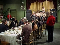 Ballroom Waiter (?), Speech Fan Man (Jerry Rush), Speech Fan Woman (Roxanne Albee), Leoda Richards, Professor Milo Schnitzler (Norbert Schiller), Peter Tork, Mike Nesmith, Micky Dolenz, Davy Jones, Dr. Marcovich (Vito Scotti)