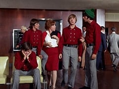 Micky Dolenz, Davy Jones, Miss Irene Chomsky (Bobo Lewis), Peter Tork, Mike Nesmith