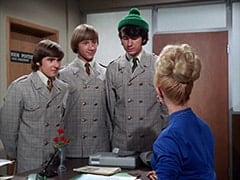 Davy Jones, Peter Tork, Mike Nesmith, Secretary (Judy Howard)
