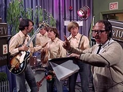 Mike Nesmith, Micky Dolenz, Davy Jones, Peter Tork, Stage Manager (Larry Gelman)