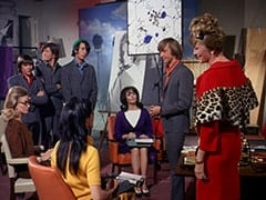 Miss de Lessups (?), Davy Jones, Micky Dolenz, Mike Nesmith, Miss Osborne (Carole Williams), Miss Collins (Nancy Walters), Peter Tork, Madame Quagmeyer (Patrice Wymore)