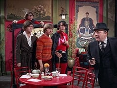Micky Dolenz, Davy Jones, Peter Tork, Mike Nesmith, Inspector Blount (Dave Barry)