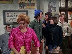 Mr. Schneider, Milly Rudnick (Rose Marie), Mike Nesmith, Micky Dolenz, Davy Jones, Peter Tork
