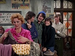 Mr. Schneider, Milly Rudnick (Rose Marie), Micky Dolenz, Mike Nesmith, Davy Jones, Peter Tork
