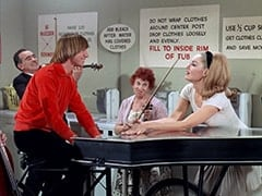 Male Violinist (?), Peter Tork, Female Violinist (?), April Conquest (Julie Newmar)