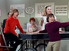 Male Violinist (?), Peter Tork, Female Violinist (?), April Conquest (Julie Newmar), Davy Jones