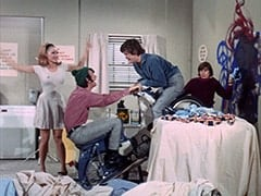 April Conquest (Julie Newmar), Mike Nesmith, Micky Dolenz, Davy Jones