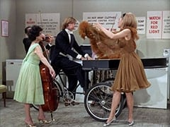 Cellist (?), Peter Tork, April Conquest (Julie Newmar)
