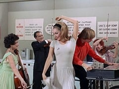 Cellist (?), Male Violinist (?), April Conquest (Julie Newmar), Peter Tork, Female Violinist (?)