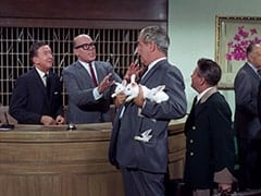 Buntz Compton (John Graham), Mr. Weatherwax (Philip Ober), Conventioneer (Foster Brooks), Bellhop (?)
