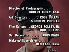Director of Photography … Robert Tobey, A.S.C. / Art Directors … Ross Bellah & Robert Purcell / Film Editors … George Folsey, Jr. Bob Collins / Set Decorator … Louis Diage / Make-up Supervision … Ben Lane, S.M.A.