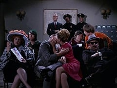 Woman with Hat (?), Mike Nesmith, Sergeant (Dort Clark), Kissing Man (?), Kissing Woman (?), Cop #2 (?), Cop (Robert Michaels), Micky Dolenz, Peter Tork, Unamused Movie-goer (?)
