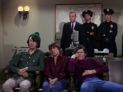 Mike Nesmith, Davy Jones, Sergeant (Dort Clark), Micky Dolenz, Cop (Robert Michaels)