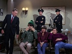 Sergeant (Dort Clark), Mike Nesmith, Cop (Robert Michaels), Davy Jones, Micky Dolenz, Cop #2 (?)