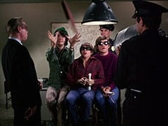 Sergeant (Dort Clark), Mike Nesmith, Davy Jones, Micky Dolenz, Cop #2 (?), Cop (Robert Michaels)