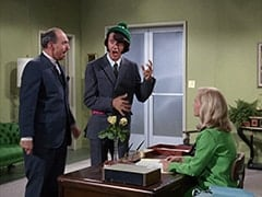 Mayor Motley (Irwin Charone), Mike Nesmith, Secretary (Kathy Wakefield)